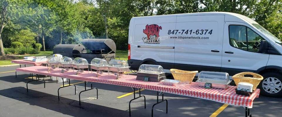 On-site BBQ catering, cooked and managed on site by BBQ on Wheels.